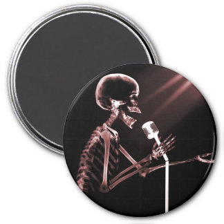 X-RAY SKELETON SINGING ON RETRO MIC - RED MAGNETS