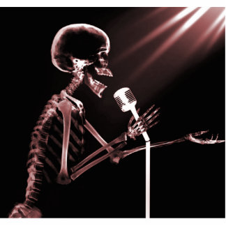 X-RAY SKELETON SINGING ON RETRO MIC - RED STATUETTE