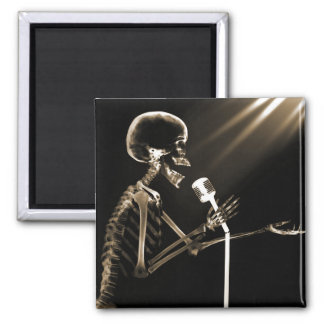 X-RAY SKELETON SINGING ON RETRO MIC - SEPIA 2 INCH SQUARE MAGNET