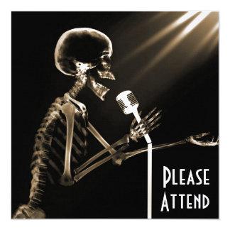 X-RAY SKELETON SINGING ON RETRO MIC - SEPIA CARD