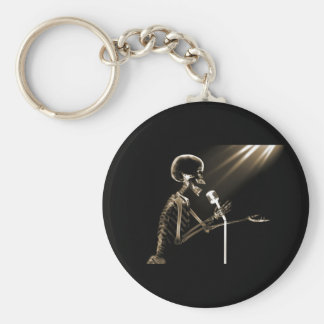 X-RAY SKELETON SINGING ON RETRO MIC - SEPIA KEYCHAIN