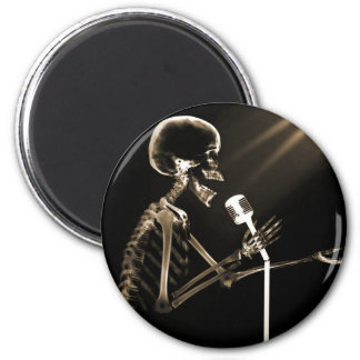 X-RAY SKELETON SINGING ON RETRO MIC - SEPIA FRIDGE MAGNETS