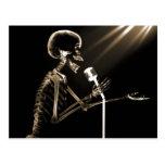 X-RAY SKELETON SINGING ON RETRO MIC - SEPIA POSTCARDS