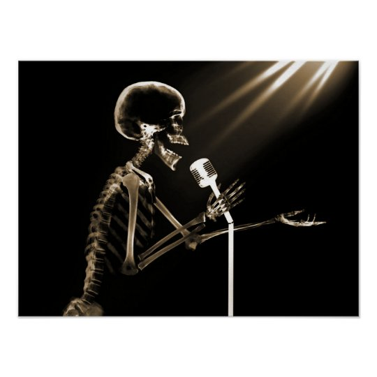 X-RAY SKELETON SINGING ON RETRO MIC - SEPIA POSTER