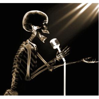 X-RAY SKELETON SINGING ON RETRO MIC - SEPIA STATUETTE