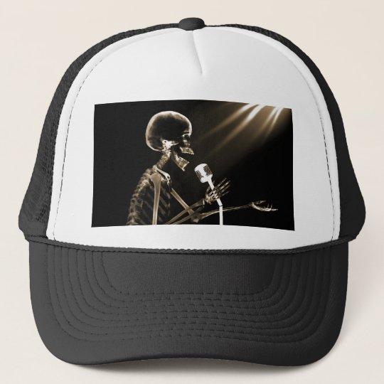 X-RAY SKELETON SINGING ON RETRO MIC - SEPIA TRUCKER HAT