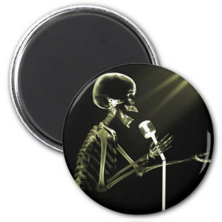 X-RAY SKELETON SINGING ON RETRO MIC - YELLOW 2 INCH ROUND MAGNET