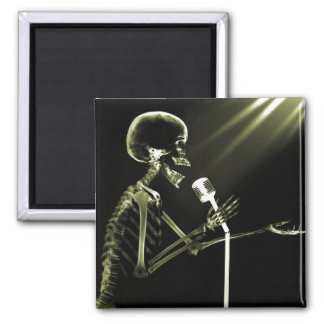 X-RAY SKELETON SINGING ON RETRO MIC - YELLOW 2 INCH SQUARE MAGNET