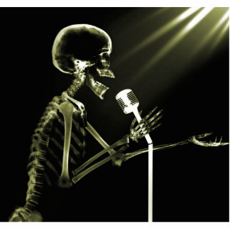X-RAY SKELETON SINGING ON RETRO MIC - YELLOW CUTOUT