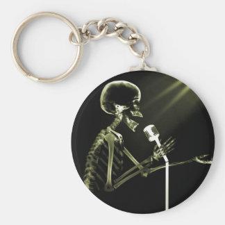 X-RAY SKELETON SINGING ON RETRO MIC - YELLOW KEY CHAINS