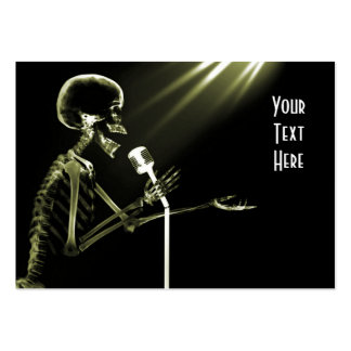 X-RAY SKELETON SINGING ON RETRO MIC - YELLOW LARGE BUSINESS CARD