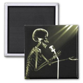 X-RAY SKELETON SINGING ON RETRO MIC - YELLOW FRIDGE MAGNET