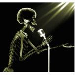 X-RAY SKELETON SINGING ON RETRO MIC - YELLOW PHOTO SCULPTURES