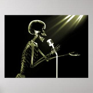 X-RAY SKELETON SINGING ON RETRO MIC - YELLOW POSTER