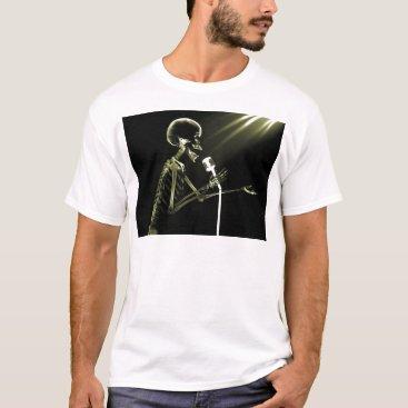 Halloween Themed X-RAY SKELETON SINGING ON RETRO MIC - YELLOW T-Shirt