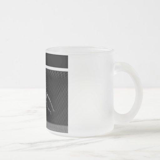 X-RAY SKELETON SOCCER GOALIE B&W 10 OZ FROSTED GLASS COFFEE MUG