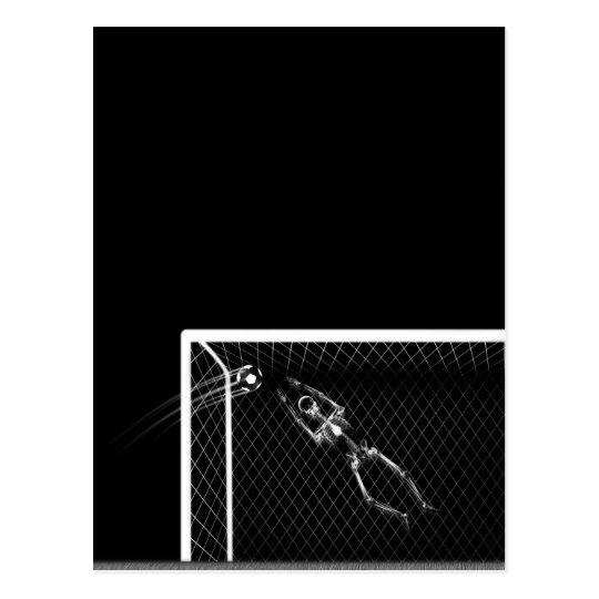 X-RAY SKELETON SOCCER GOALIE B&W POSTCARD