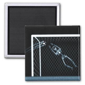 X-RAY SKELETON SOCCER GOALIE BLUE MAGNET