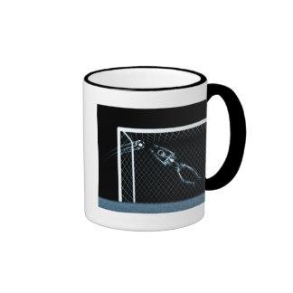 X-RAY SKELETON SOCCER GOALIE BLUE RINGER COFFEE MUG