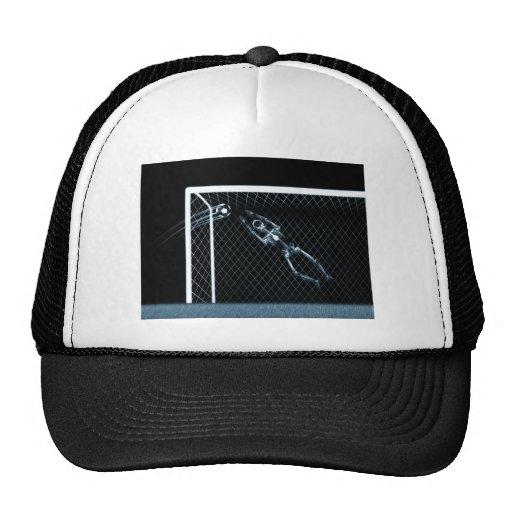 X-RAY SKELETON SOCCER GOALIE BLUE TRUCKER HATS