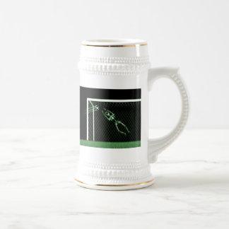 X-RAY SKELETON SOCCER GOALIE GREEN 18 OZ BEER STEIN
