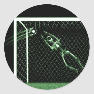 X-RAY SKELETON SOCCER GOALIE GREEN CLASSIC ROUND STICKER