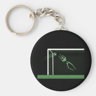 X-RAY SKELETON SOCCER GOALIE GREEN KEYCHAIN