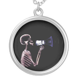 X-Ray Skeleton Speaking On Megaphone Round Pendant Necklace