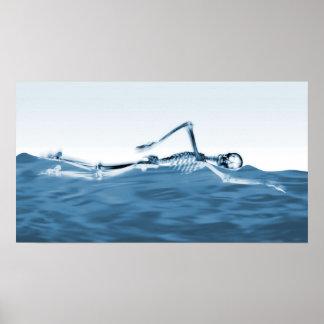 X-Ray Skeleton Swimming in Lake Blue Poster