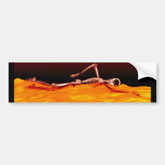X-Ray Skeleton Swimming in Lake of Fire Bumper Stickers