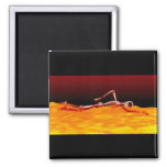 X-Ray Skeleton Swimming in Lake of Fire Refrigerator Magnets