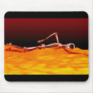 X-Ray Skeleton Swimming in Lake of Fire Mouse Pad