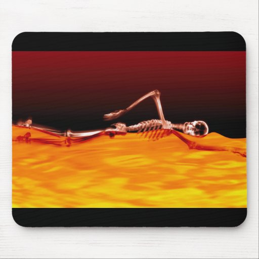 X-Ray Skeleton Swimming in Lake of Fire Mousepad