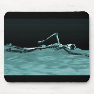 X-Ray Skeleton Swimming Teal Mouse Pad