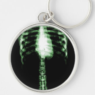 X-RAY SKELETON TORSO RIBS - GREEN KEY CHAIN
