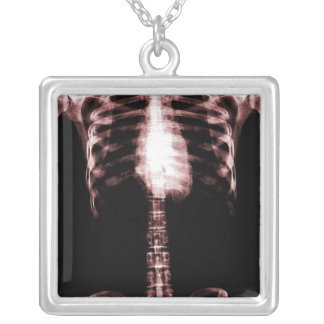 X-RAY SKELETON TORSO RIBS - RED PERSONALIZED NECKLACE