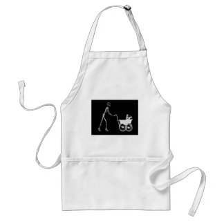 X-RAY SKELETON WOMAN & BABY CARRIAGE - B&W ADULT APRON