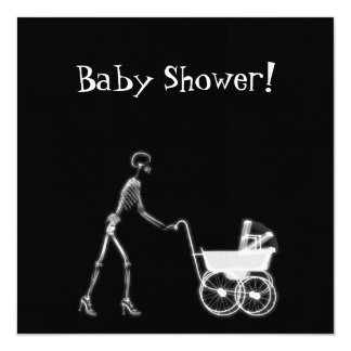 X-RAY SKELETON WOMAN & BABY CARRIAGE - B&W CARD