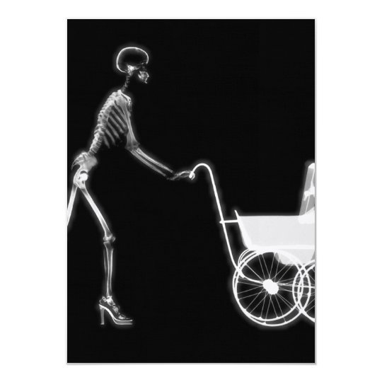X-RAY SKELETON WOMAN & BABY CARRIAGE - B&W CARD