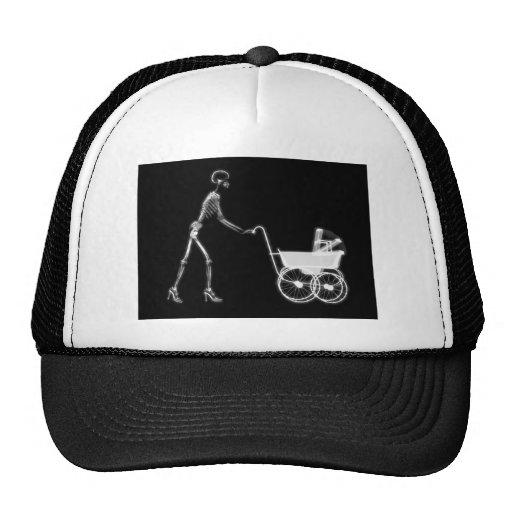 X-RAY SKELETON WOMAN & BABY CARRIAGE - B&W MESH HAT