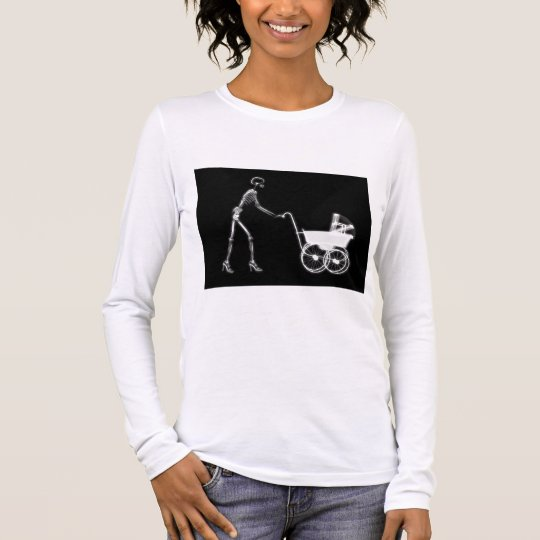 X-RAY SKELETON WOMAN & BABY CARRIAGE - B&W LONG SLEEVE T-Shirt