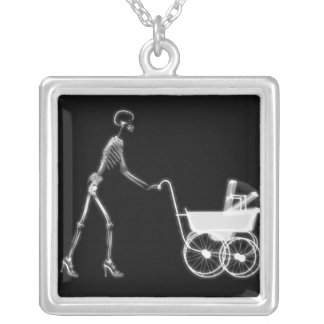 X-RAY SKELETON WOMAN BABY CARRIAGE - B W NECKLACES