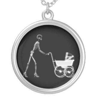 X-RAY SKELETON WOMAN BABY CARRIAGE - B W CUSTOM NECKLACE