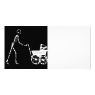 X-RAY SKELETON WOMAN & BABY CARRIAGE - B&W PERSONALIZED PHOTO CARD