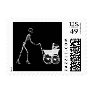 X-RAY SKELETON WOMAN & BABY CARRIAGE - B&W POSTAGE STAMP