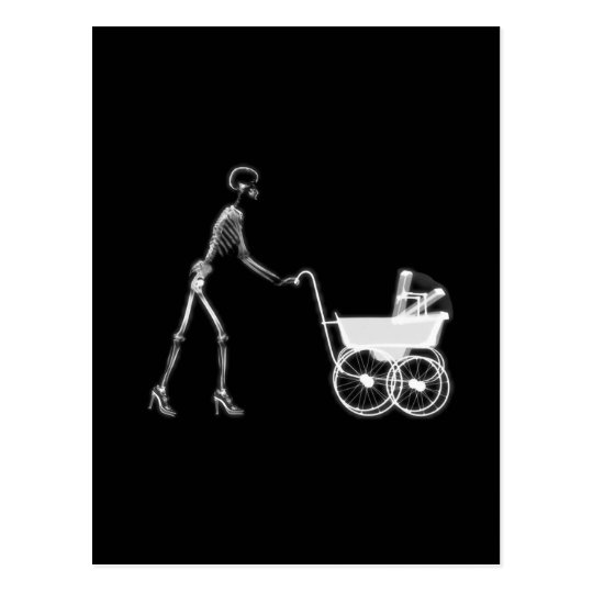 X-RAY SKELETON WOMAN & BABY CARRIAGE - B&W POSTCARD