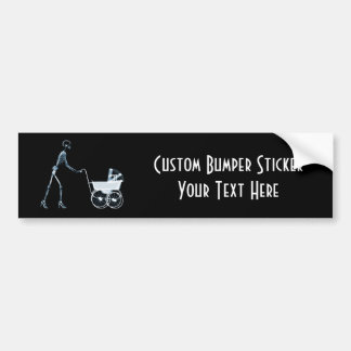 X-RAY SKELETON WOMAN & BABY CARRIAGE - BLUE BUMPER STICKER