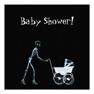 X-RAY SKELETON WOMAN BABY CARRIAGE - BLUE PERSONALIZED INVITE