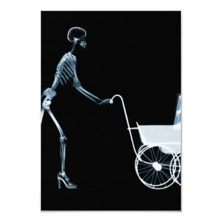 X-RAY SKELETON WOMAN & BABY CARRIAGE - BLUE INVITATION