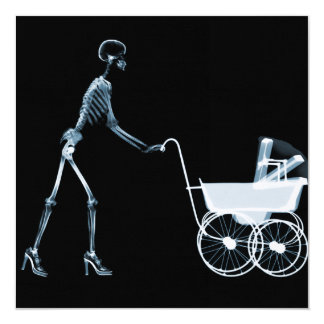 X-RAY SKELETON WOMAN & BABY CARRIAGE - BLUE PERSONALIZED INVITE